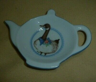 "George Good White Tea Pot Tea bag Holder by Fabrizio Made in Japan goose 5"" x 3"""