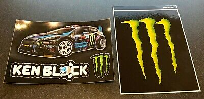 "KEN BLOCK + MONSTER ENERGY 4"" x 3"" - MINI M-CLAW GLOSSY DECAL STICKERS BRAND NEW"