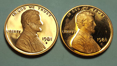 1981-S Proof Lincoln Cent Type 1 & Type 2 Deep Cameo 2 Coin Set BU #1