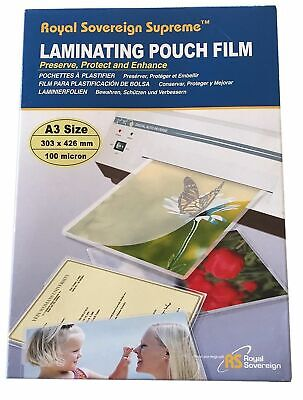 100 sheets A3 Laminating Pouch Film Protect Photo Gloss