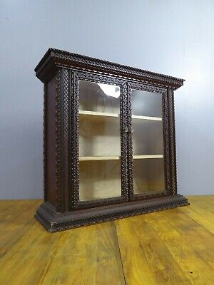 Rare Large Antique Victorian Notched Carved Vintage Pine Cabinet Tramp Art