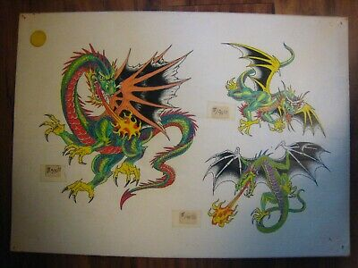 VINTAGE Parlor-Used Tattoo Flash ' Fire DRAGONS '..11 X 15.....HAND-COLORED
