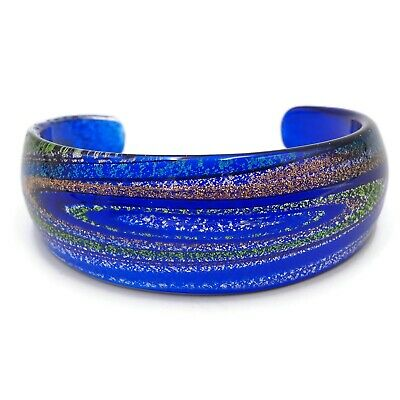 Vintage Murano Cuff Bracelet Blue Glass With Silver,Gold,Green Blues 2.39 Inch
