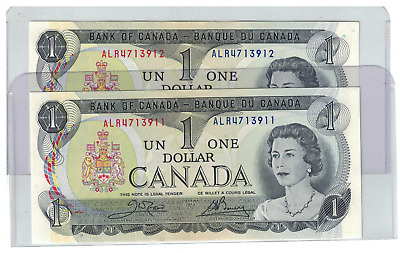 Lot of 2 1973 Consecutive Bank of  Canada $1 Dollar Notes