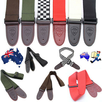 Adjustable Cotton Strap Webbing Leather Ends for Electric Acoustic Guitar Bass