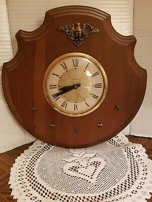 Vintage Wood & Brass Self Starting Electric Wall Clock.  Eagle and Stars