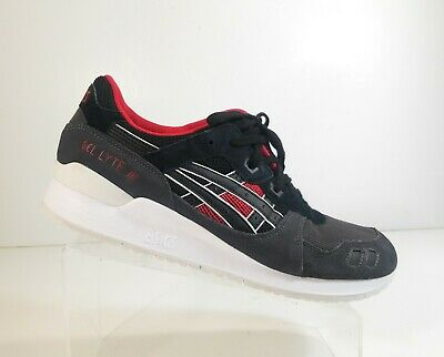 790ced83b6e Asics H6X2L Gel Lyte III 9090 Men Leather Black Red Athletic Running Shoes  Sz 12