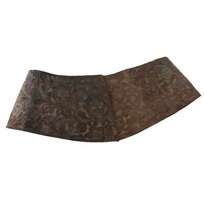 Vintage Brocade Texture Brown Corset Leather Belt Made in France