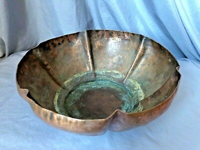 Large Vtg Antique Hand Hammered Copper Bowl Vase Mission Arts & Crafts -Repair