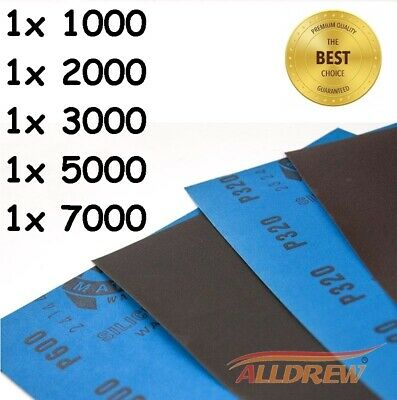 1x 1000 2000 3000 5000 7000 Grit  WET and DRY Sandpaper Mixed Assorted Pack of 5