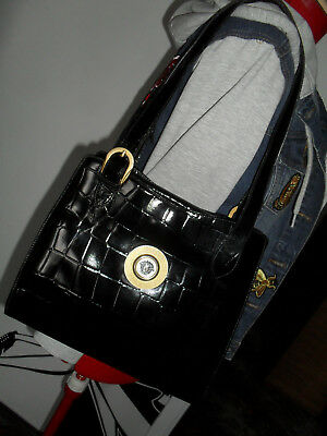 174b1d9a VTG GIANNI VERSACE Brown Leather Croc Embossed Bag - $165.00 | PicClick
