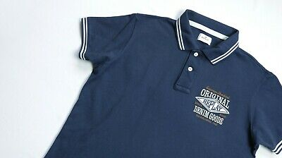 97083977 Replay Polo shirt men Short Sleeve top size L Large navy blue TWIN TIPPED