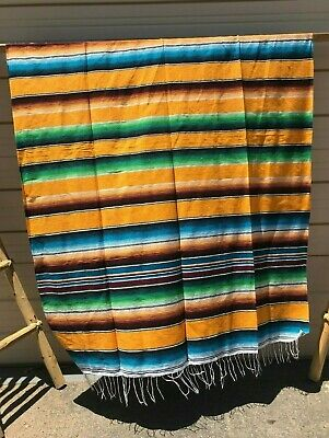 Serape Xxl,5'X7', Mexican Blanket , Hot Rod, Seat Covers ,Motorcycle , Yellow