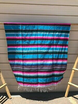 Serape Xxl,5'X7', Mexican Blanket , Hot Rod, Seat Covers ,Motorcycle , Turquoise