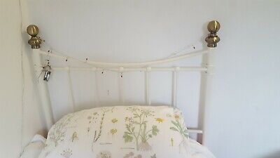 Single bed frame white metal vintage look