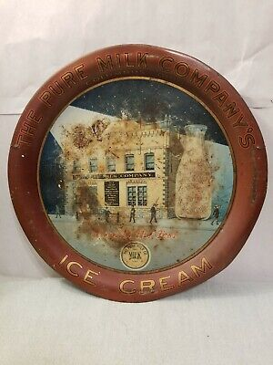 Antique Vintage-The Pure Milk Company's Ice Cream Advertisting Tray