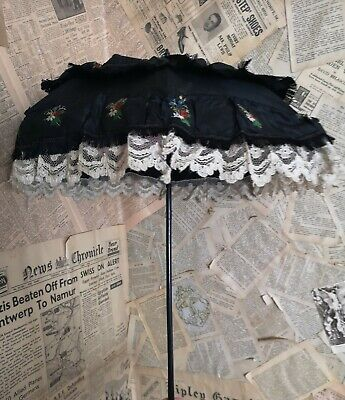 Antique Victorian black silk mourning parasol, embroidery and lace