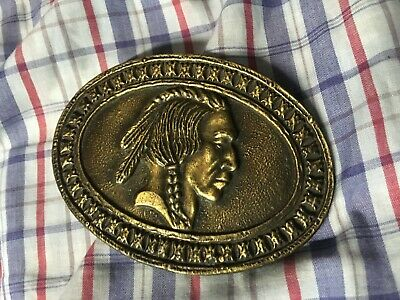 Vtg INDIAN CHIEF feather head BELT BUCKLE profile 70s brass used