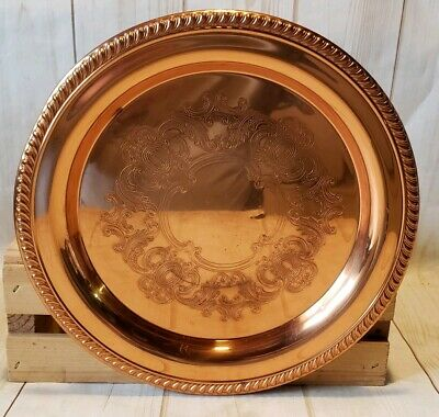 "Coppercraft Guild Solid Copper 10"" Round Serving Tray/Platter"