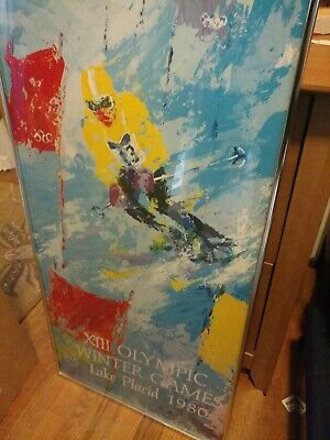 Leroy Nieman Xiii Olympic Winter Games Lake Placid 1980 36X18 Ski Poster Vintage