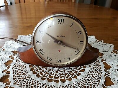 Vintage Seth Thomas Wood Dynaire 1E Curved Electric Mantle Shelf Clock Works