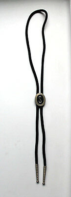 Vintage SWANK Western Bolo Tie Initial Letter 'S' Silver Tone With Black Cord