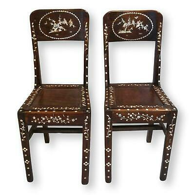 Antique Mother of Pearl Inlaid Rosewood Chairs-Pair