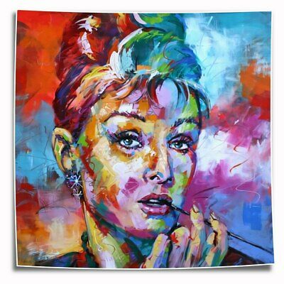 Abstract color Audrey Hepburn HD Canvas Prints Painting Home Room Decor Wall art