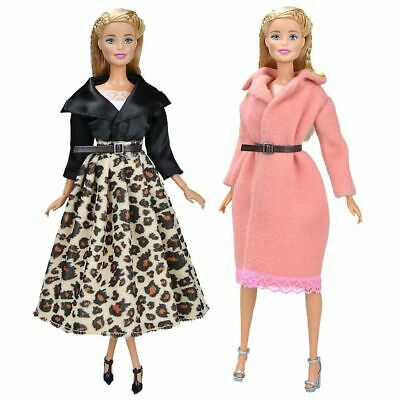 Doll Fashion Long Dress Clothes Accessories Up Costumes Kids Girls Toys Gifts