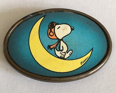Vtg Peanuts Snoopy Belt Buckle Crescent  Moon 1970s Red Baron