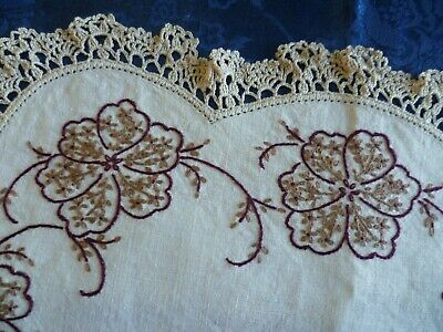 Vintage Hand Embroidered Duchess Set Large & 2 Small Doilies Brown Florals