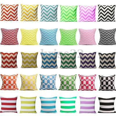 Colorful Wavy Stripes Cushion Cover Linen Cotto Throw Pillow Case Home