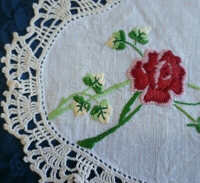 Vintage Hand Embroidered Duchess Set Large & 2 Small Doilies Red Roses