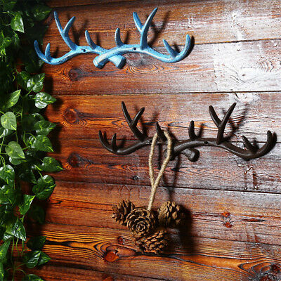 Vintage Iron Deer Antlers Wall Hooks Coat Storage Rack Home Clothes Cast  New
