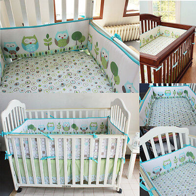 4Pcs Set Baby Infant Cot Crib Bumper Safety Protector Toddler Nursery  New