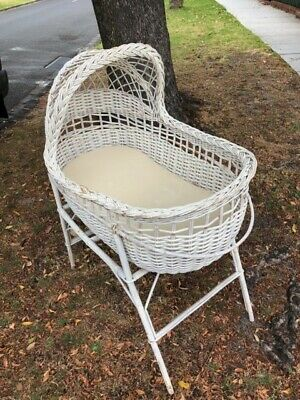 CANE WICKER BABY BASSINET and STAND