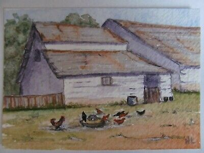 ACEO Original Watercolor Painting Chickens Barns English Countryside N Lavender