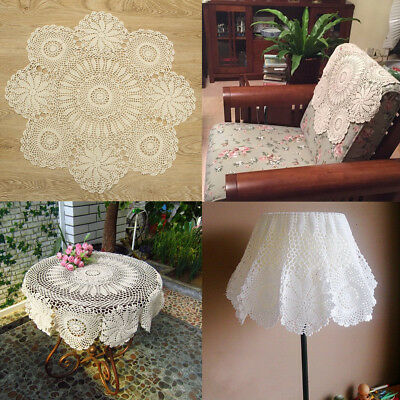 27'' Flower Round Beige Cotton Hand Crocheted Lace Doily Coasters Table