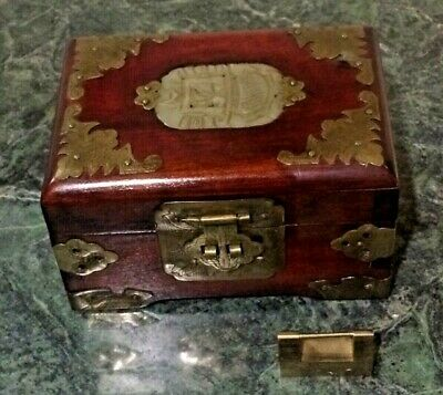 Antq. Chinese Wood Brass Appliques,Jade Inlay Jewelry Box with Hair pins & Lock