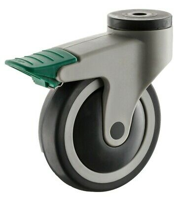Easyroll STAINLESS STEEL CASTOR 125mm Swivel, Total Locking Brake, Green/Grey