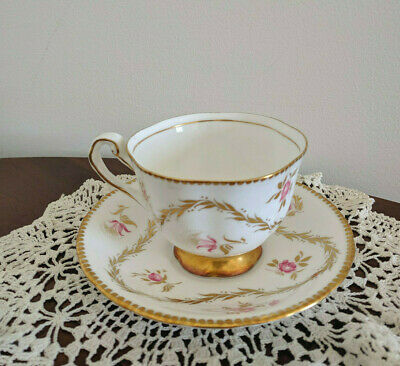 Vintage Royal Chelsea Pink and Gold Fine Bone China England Tea Cup & Saucer