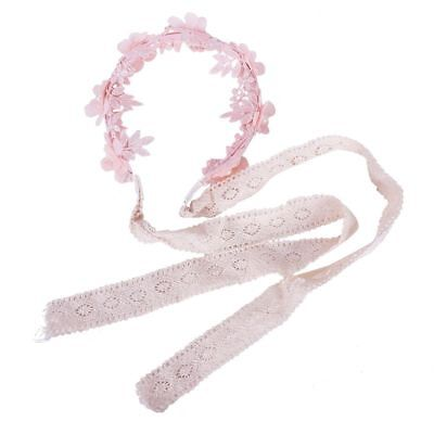 Girl headband Baby girl lace pearl flower hair band (Pink) N8S9