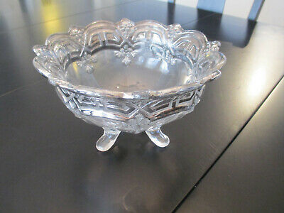 Antique Vintage Footed Hand Cut Crystal Bowl Silver Trim