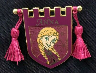 disney trading pin Anna princess Frozen banner tassels flag pink tapestry braids