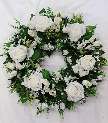 "Wreath Silk Artificial Funeral Flowers Wreath/Memorial/Grave Tribute 12"" round"