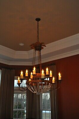 Antique Gilt & Polychrome 6 light Ceiling Mounted Chandelier from Belle Epoque