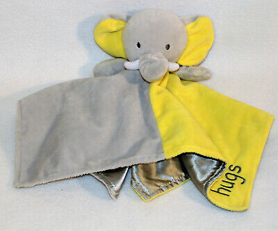 Okie Dokie Elephant Yellow Gray Lovey Security Blanket Satin Back Rattle Hugs