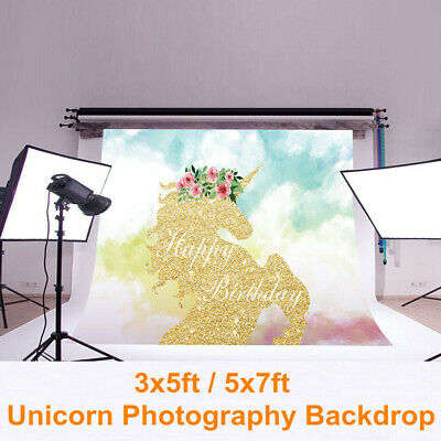 3x5ft 5x7ft Unicorn Photography Backdrop Baby Birthday Vinyl Photo Background