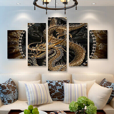 5pcs Animal Dragon HD Canvas Print Painting Pictures Home Wall Decor  CA
