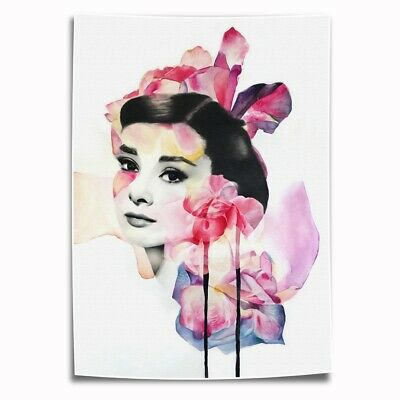 Audrey Hepburn Roses Flowers Charcoa HD Canvas Prints Home Room Decor Wall art